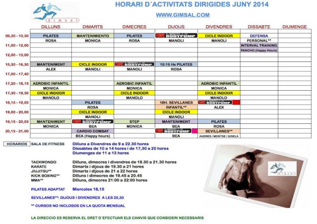 HORARI GIMSAL JUNY 2014